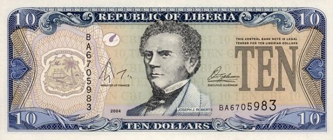 Либерийский доллар. Купюра номиналом в 10 LRD, аверс (лицевая сторона).