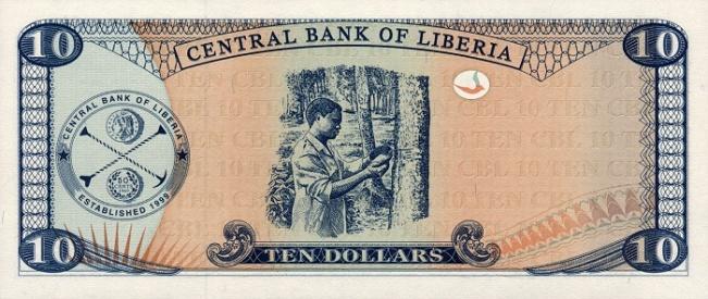 Либерийский доллар. Купюра номиналом в 10 LRD, реверс (обратная сторона).