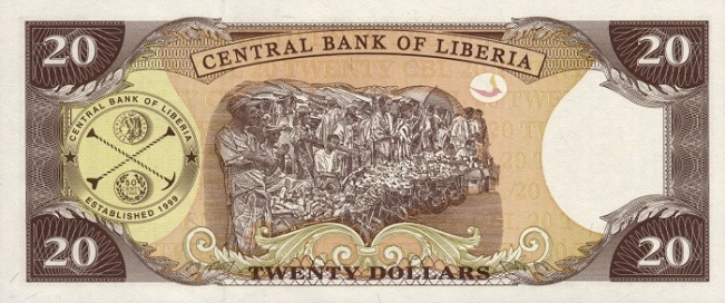 Либерийский доллар. Купюра номиналом в 20 LRD, реверс (обратная сторона).