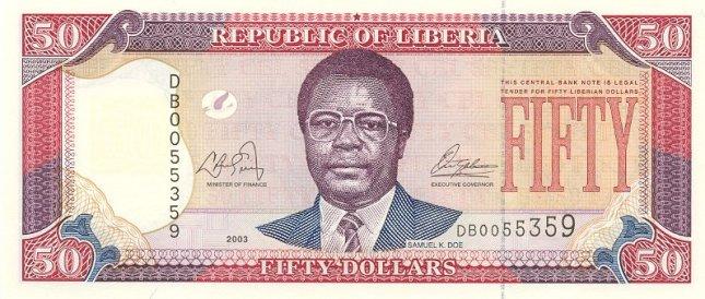 Либерийский доллар. Купюра номиналом в 50 LRD, аверс (лицевая сторона).