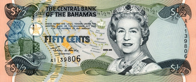 Багамский доллар. Купюра номиналом в 0.5 BSD, аверс (лицевая сторона).