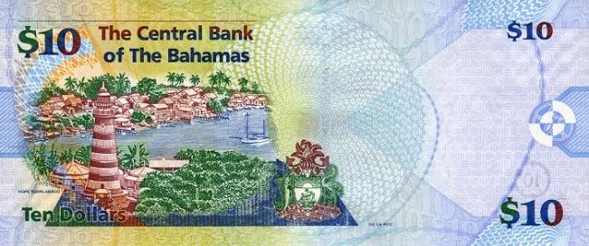 Багамский доллар. Купюра номиналом в 10 BSD, реверс (обратная сторона).
