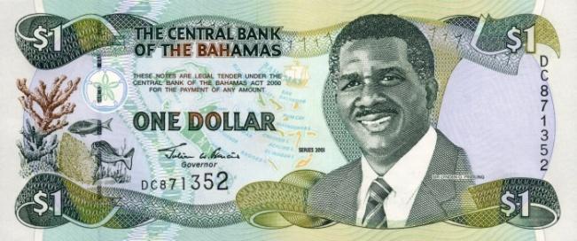 Багамский доллар. Купюра номиналом в 1 BSD, аверс (лицевая сторона).