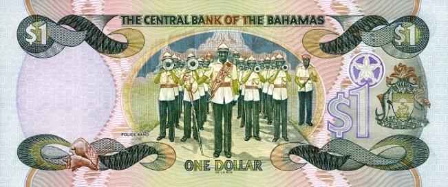 Багамский доллар. Купюра номиналом в 1 BSD, реверс (обратная сторона).