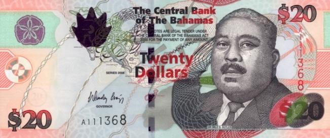 Багамский доллар. Купюра номиналом в 20 BSD, аверс (лицевая сторона).