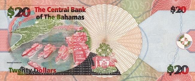 Багамский доллар. Купюра номиналом в 20 BSD, реверс (обратная сторона).