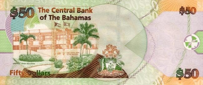 Багамский доллар. Купюра номиналом в 50 BSD, реверс (обратная сторона).