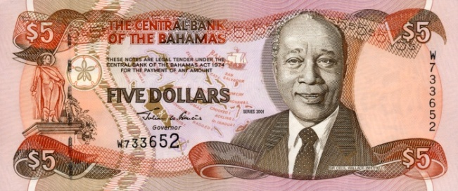 Багамский доллар. Купюра номиналом в 5 BSD, аверс (лицевая сторона).