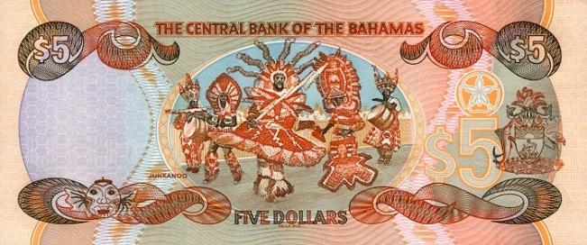 Багамский доллар. Купюра номиналом в 5 BSD, реверс (обратная сторона).