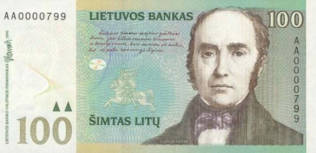 Литовский лит. Купюра номиналом в 100 LTL, аверс (лицевая сторона).