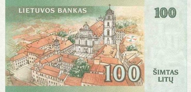 Литовский лит. Купюра номиналом в 100 LTL, реверс (обратная сторона).