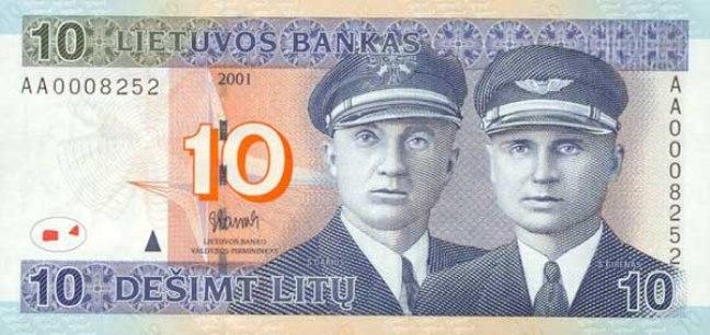 Литовский лит. Купюра номиналом в 10 LTL, аверс (лицевая сторона).