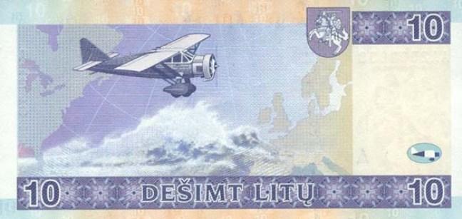 Литовский лит. Купюра номиналом в 10 LTL, реверс (обратная сторона).