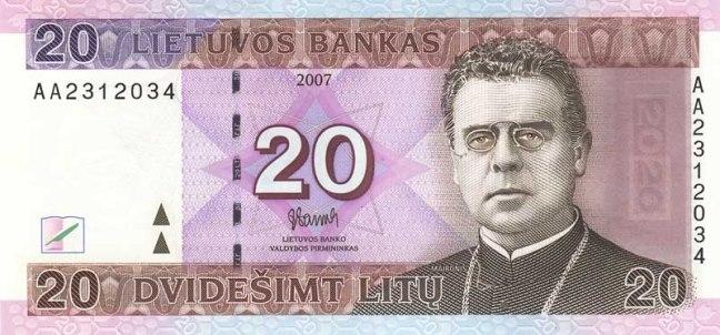 Литовский лит. Купюра номиналом в 20 LTL, аверс (лицевая сторона).