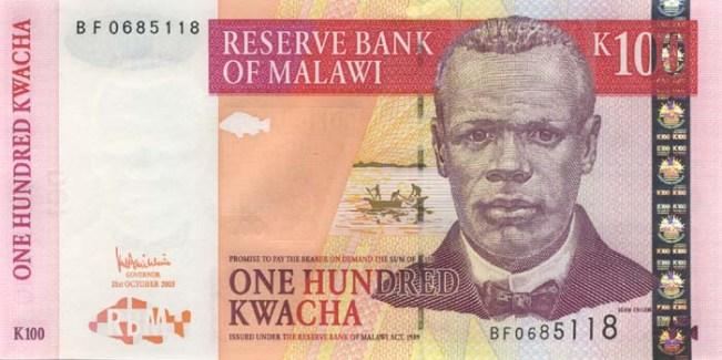Малавийская квача. Купюра номиналом в 100 MWK, аверс (лицевая сторона).