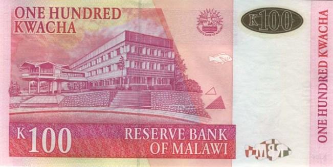 Малавийская квача. Купюра номиналом в 100 MWK, реверс (обратная сторона).