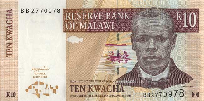 Малавийская квача. Купюра номиналом в 10 MWK, аверс (лицевая сторона).