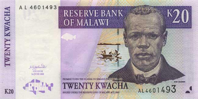 Малавийская квача. Купюра номиналом в 20 MWK, аверс (лицевая сторона).