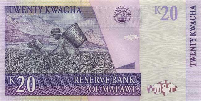Малавийская квача. Купюра номиналом в 20 MWK, реверс (обратная сторона).