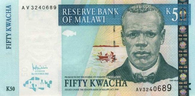 Малавийская квача. Купюра номиналом в 50 MWK, аверс (лицевая сторона).