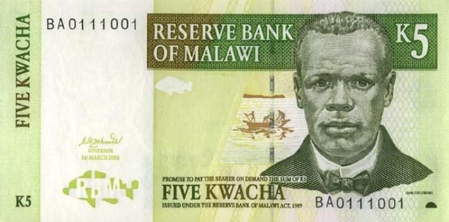 Малавийская квача. Купюра номиналом в 5 MWK, аверс (лицевая сторона).