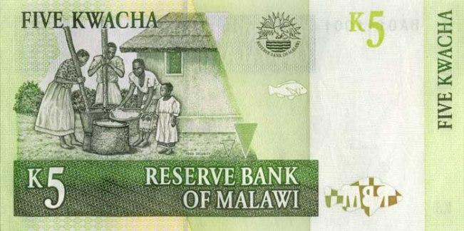 Малавийская квача. Купюра номиналом в 5 MWK, реверс (обратная сторона).