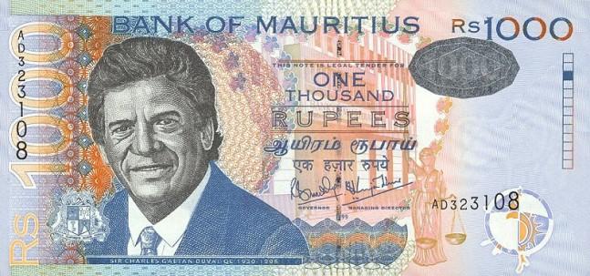 Маврикийская рупия. Купюра номиналом в 1000 MUR, аверс (лицевая сторона).