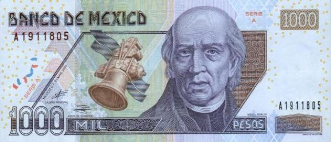 Мексиканский песо. Купюра номиналом в 1000 MXN, аверс (лицевая сторона).