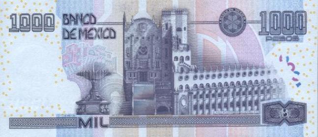 Мексиканский песо. Купюра номиналом в 1000 MXN, реверс (обратная сторона).