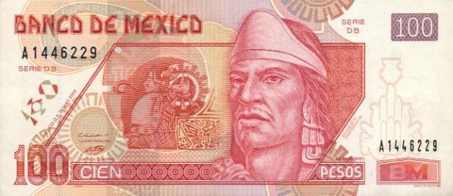 Мексиканский песо. Купюра номиналом в 100 MXN, аверс (лицевая сторона).