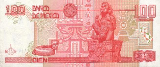 Мексиканский песо. Купюра номиналом в 100 MXN, реверс (обратная сторона).
