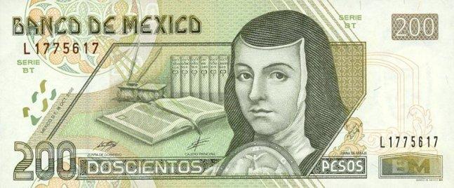 Мексиканский песо. Купюра номиналом в 200 MXN, аверс (лицевая сторона).