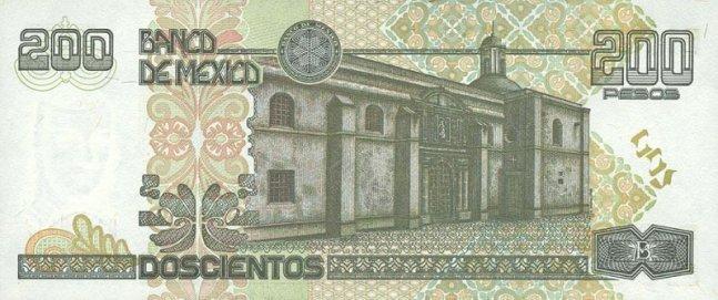 Мексиканский песо. Купюра номиналом в 200 MXN, реверс (обратная сторона).