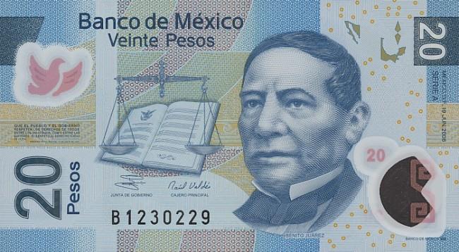 Мексиканский песо. Купюра номиналом в 20 MXN, аверс (лицевая сторона).