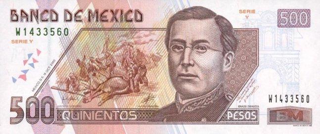 Мексиканский песо. Купюра номиналом в 500 MXN, аверс (лицевая сторона).
