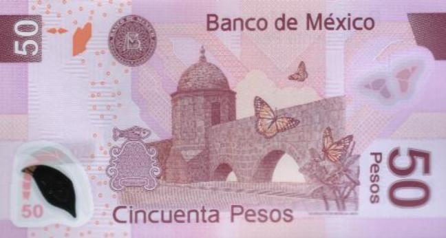 Мексиканский песо. Купюра номиналом в 50 MXN, реверс (обратная сторона).