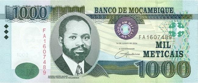 Мозамбикский метикал. Купюра номиналом в 1000 MZN, аверс (лицевая сторона).