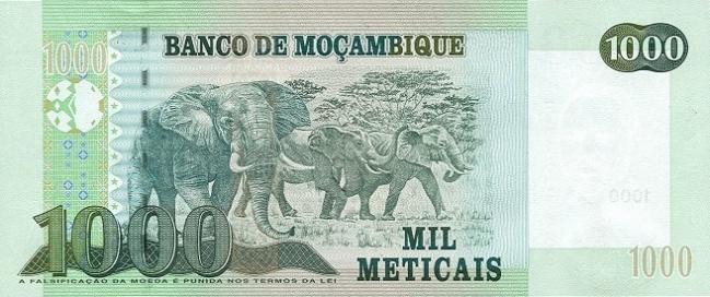 Мозамбикский метикал. Купюра номиналом в 1000 MZN, реверс (обратная сторона).