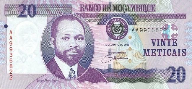 Мозамбикский метикал. Купюра номиналом в 20 MZN, аверс (лицевая сторона).