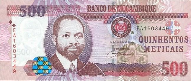 Мозамбикский метикал. Купюра номиналом в 500 MZN, аверс (лицевая сторона).