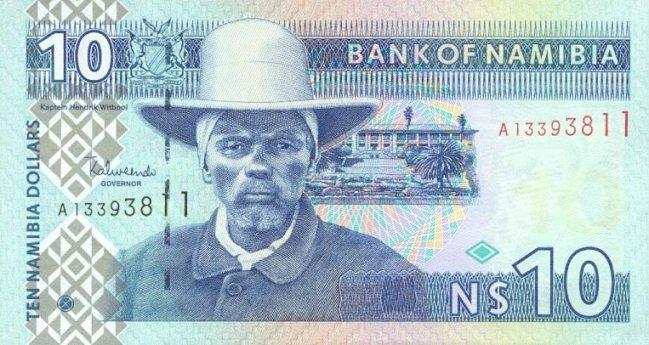 Доллар Намибии. Купюра номиналом в 10 NAD, аверс (лицевая сторона).