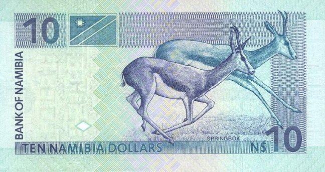 Доллар Намибии. Купюра номиналом в 10 NAD, реверс (обратная сторона).