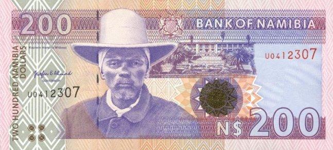 Доллар Намибии. Купюра номиналом в 200 NAD, аверс (лицевая сторона).