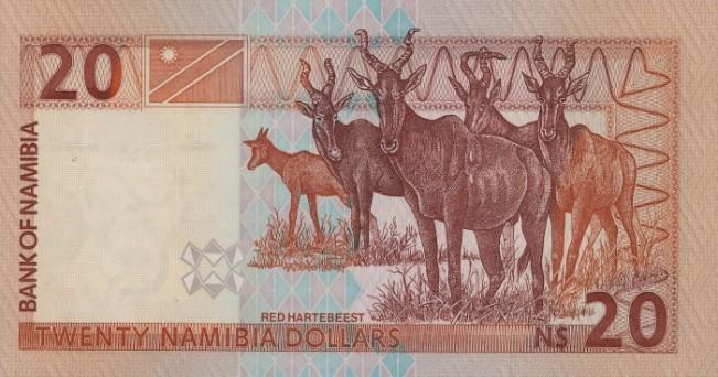 Доллар Намибии. Купюра номиналом в 20 NAD, реверс (обратная сторона).