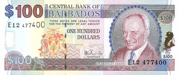 Барбадосский доллар. Купюра номиналом в 100 BBD, аверс (лицевая сторона).