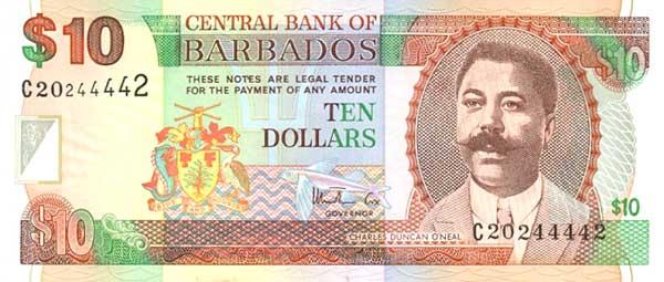 Барбадосский доллар. Купюра номиналом в 10 BBD, аверс (лицевая сторона).