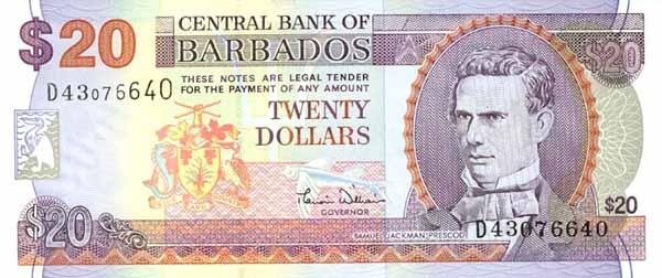 Барбадосский доллар. Купюра номиналом в 20 BBD, аверс (лицевая сторона).