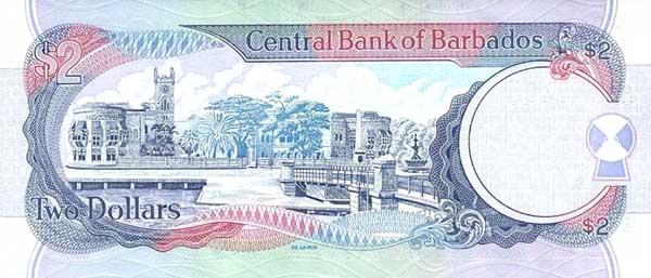 Барбадосский доллар. Купюра номиналом в 2 BBD, реверс (обратная сторона).