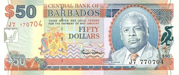 Барбадосский доллар. Купюра номиналом в 50 BBD, аверс (лицевая сторона).
