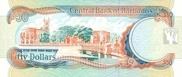 Барбадосский доллар. Купюра номиналом в 50 BBD, реверс (обратная сторона).